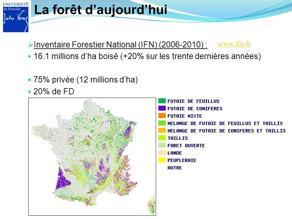 La forêt daujourdhui Inventaire Forestier National (IFN) (2006-2010) : 16.1 millions dha boisé (+20% sur les trente dernières années) 75% privée (12 m