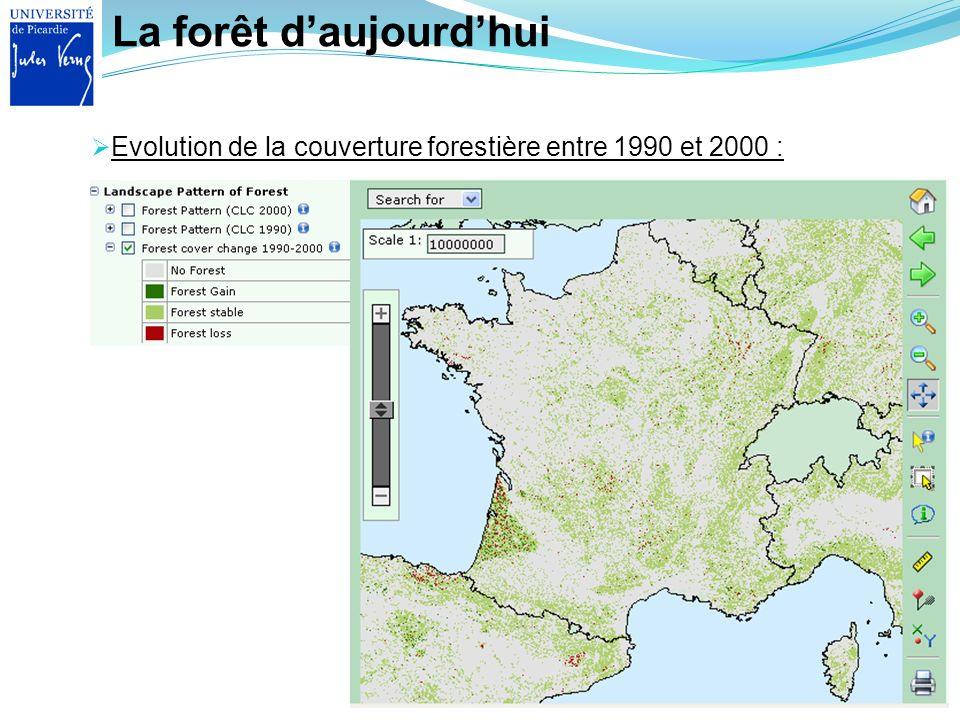 La forêt daujourdhui Evolution de la couverture forestière entre 1990 et 2000 :