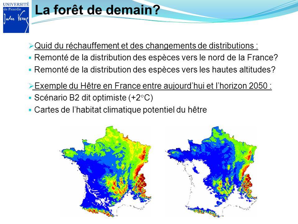 La forêt de demain? Quid du réchauffement et des changements de distributions : Remonté de la distribution des espèces vers le nord de la France? Remo