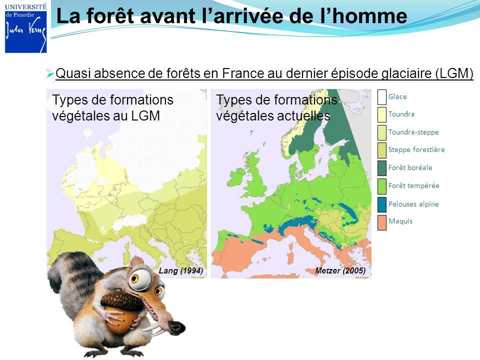 La forêt avant larrivée de lhomme Quasi absence de forêts en France au dernier épisode glaciaire (LGM) Maquis Pelouses alpine Forêt tempérée Forêt bor