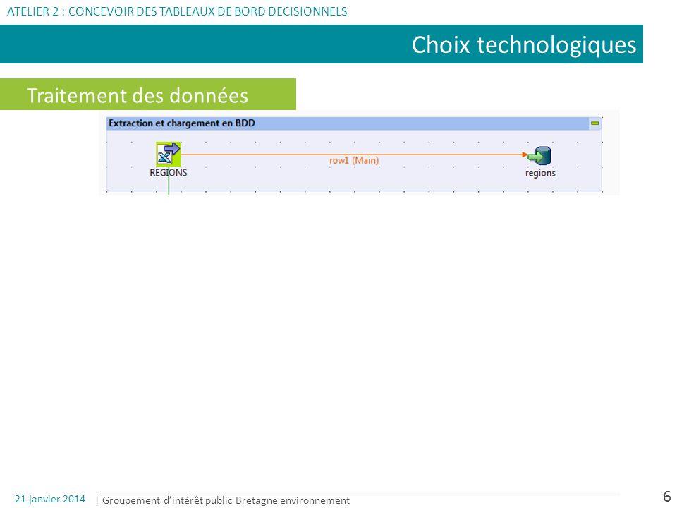 | Groupement dintérêt public Bretagne environnement 21 janvier 2014 7 Choix technologiques ATELIER 2 : CONCEVOIR DES TABLEAUX DE BORD DECISIONNELS Traitement des données