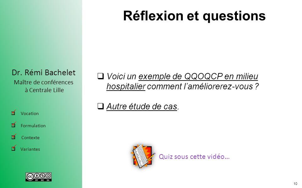 10 Dr. Rémi Bachelet Maître de conférences à Centrale Lille Vocation Formulation Contexte Variantes Réflexion et questions Voici un exemple de QQOQCP