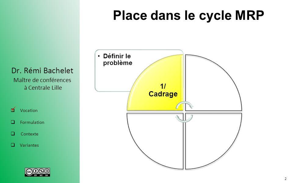 2 Dr. Rémi Bachelet Maître de conférences à Centrale Lille Vocation Formulation Contexte Variantes Place dans le cycle MRP Définir le problème 1/ Cadr