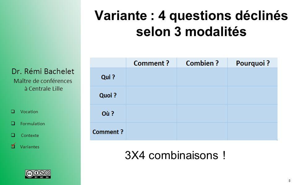 8 Dr. Rémi Bachelet Maître de conférences à Centrale Lille Vocation Formulation Contexte Variantes Variante : 4 questions déclinés selon 3 modalités 3