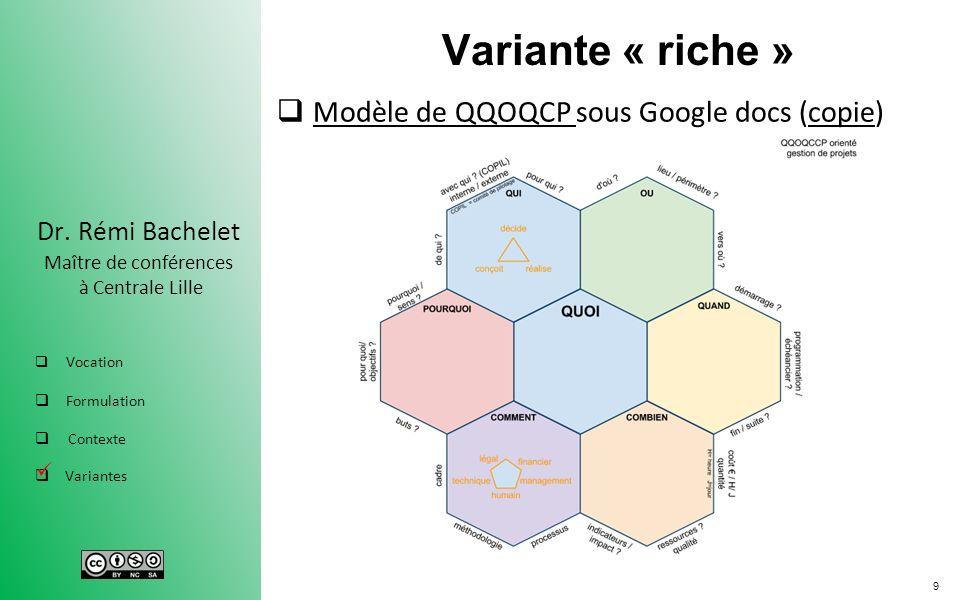 9 Dr. Rémi Bachelet Maître de conférences à Centrale Lille Vocation Formulation Contexte Variantes Variante « riche » Modèle de QQOQCP sous Google doc
