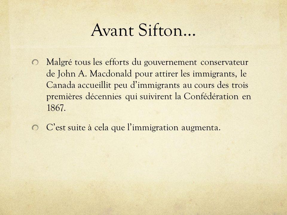 Avant Sifton… Malgré tous les efforts du gouvernement conservateur de John A. Macdonald pour attirer les immigrants, le Canada accueillit peu dimmigra