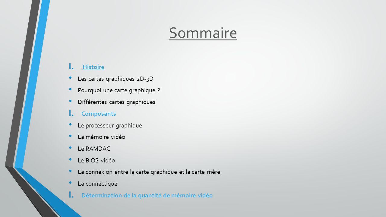 Sommaire I. Histoire Les cartes graphiques 2D-3D Pourquoi une carte graphique ? Différentes cartes graphiques I. Composants Le processeur graphique La