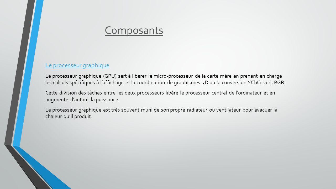 Composants Le processeur graphique Le processeur graphique (GPU) sert à libérer le micro-processeur de la carte mère en prenant en charge les calculs