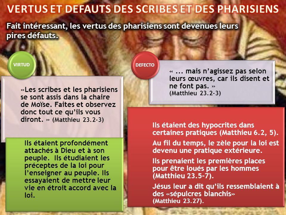 «Les scribes et les pharisiens se sont assis dans la chaire de Moïse. Faites et observez donc tout ce quils vous diront. » (Matthieu 23.2-3) Ils étaie