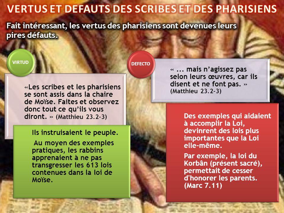 «Les scribes et les pharisiens se sont assis dans la chaire de Moïse. Faites et observez donc tout ce quils vous diront. » (Matthieu 23.2-3) Ils instr