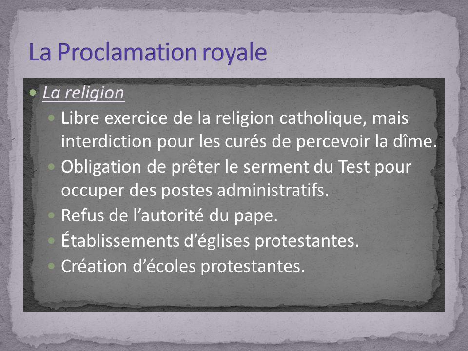 La religion Libre exercice de la religion catholique, mais interdiction pour les curés de percevoir la dîme. Obligation de prêter le serment du Test p