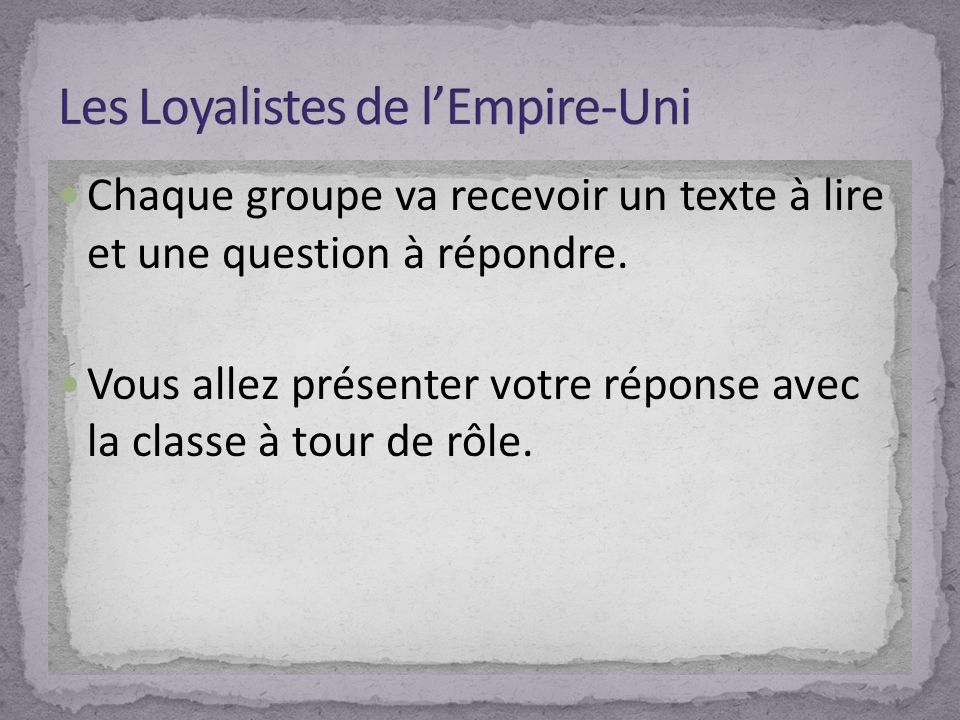 Chaque groupe va recevoir un texte à lire et une question à répondre.