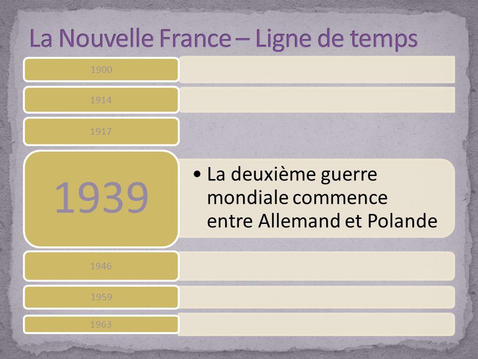 1900 1914 1917 La deuxième guerre mondiale commence entre Allemand et Polande 1939 1946 1959 1963