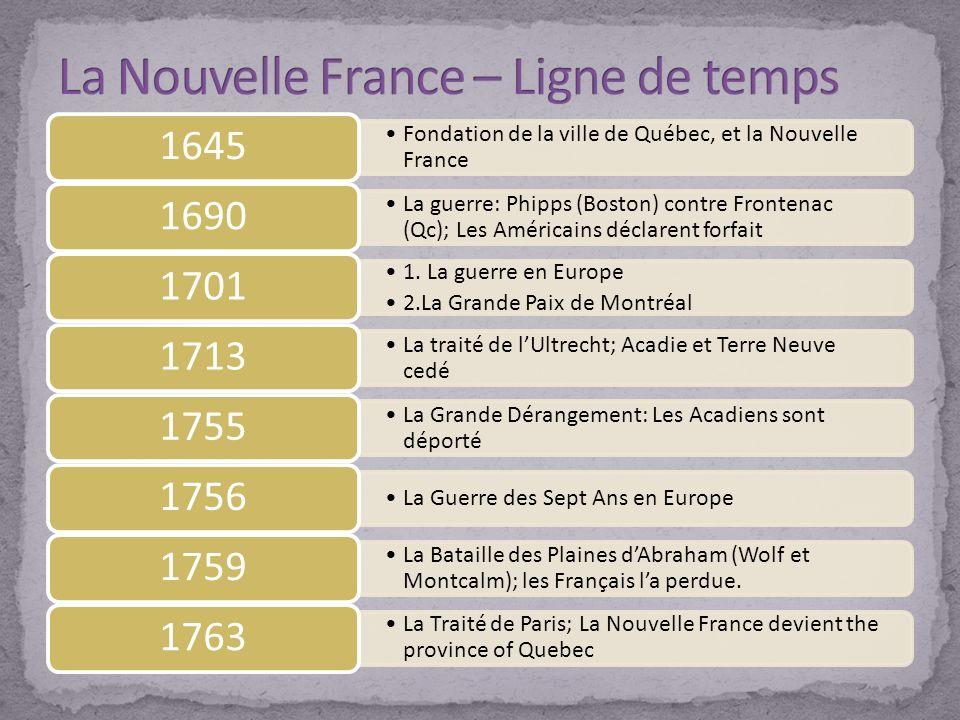 Fondation de la ville de Québec, et la Nouvelle France 1645 La guerre: Phipps (Boston) contre Frontenac (Qc); Les Américains déclarent forfait 1690 1.