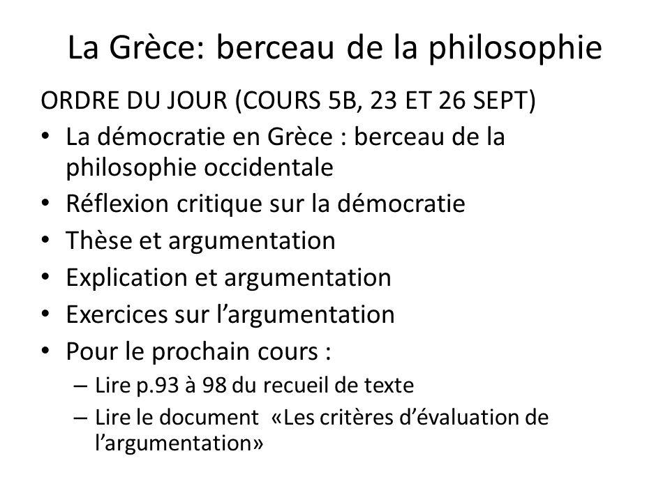 La Grèce: berceau de la philosophie ORDRE DU JOUR (COURS 5B, 23 ET 26 SEPT) La démocratie en Grèce : berceau de la philosophie occidentale Réflexion c