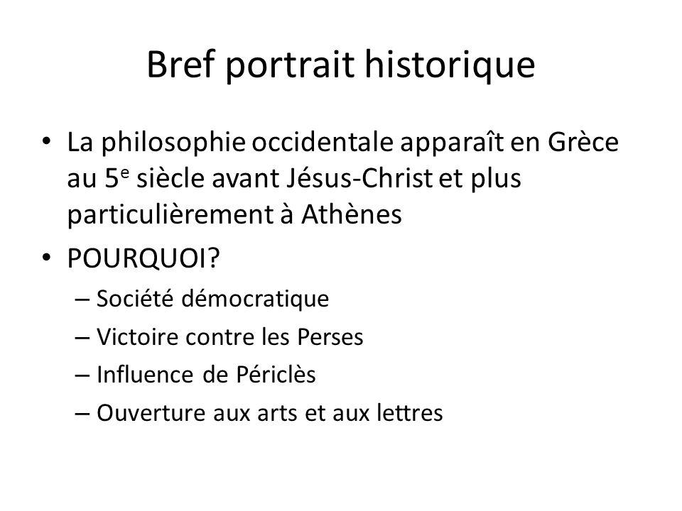 Bref portrait historique La philosophie occidentale apparaît en Grèce au 5 e siècle avant Jésus-Christ et plus particulièrement à Athènes POURQUOI? –