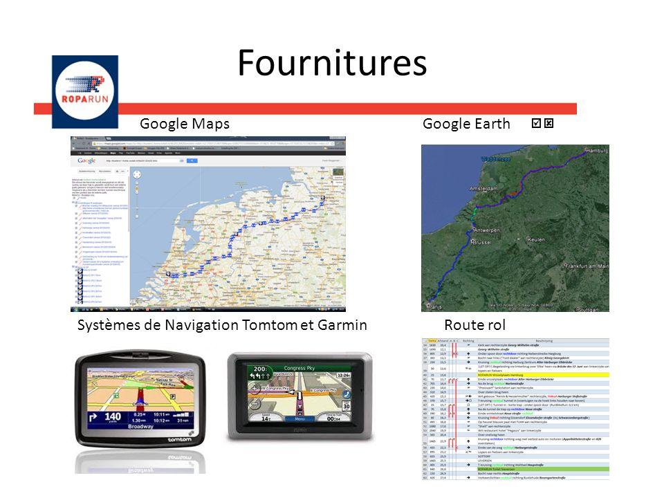 Fournitures Google Maps Google Earth Systèmes de Navigation Tomtom et Garmin Route rol