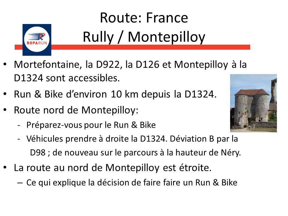 Route: France Montepilloy 1.Préparez-vous bien à lavance pour le Run & Bike.