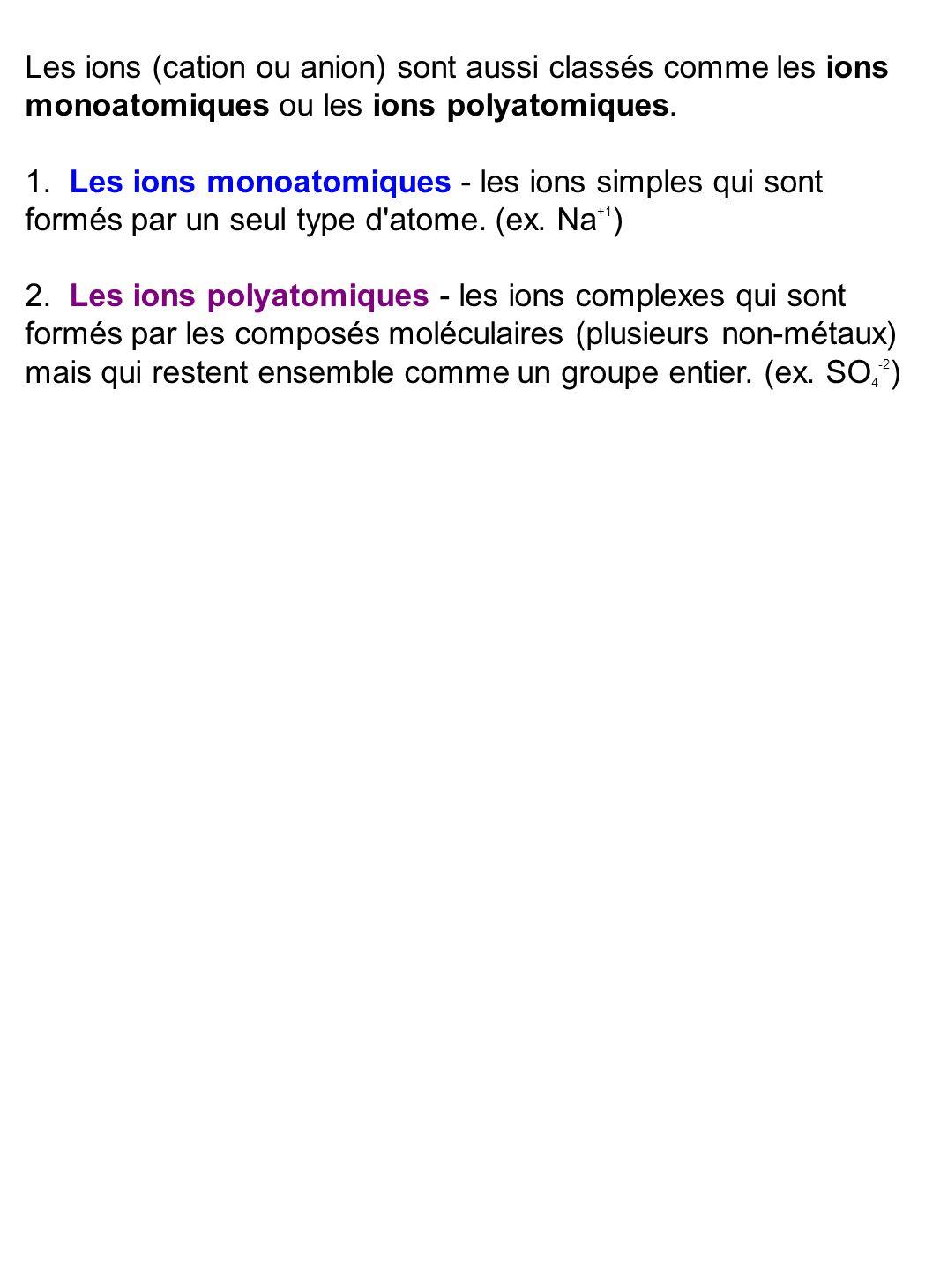 Les ions (cation ou anion) sont aussi classés comme les ions monoatomiques ou les ions polyatomiques. 1. Les ions monoatomiques - les ions simples qui