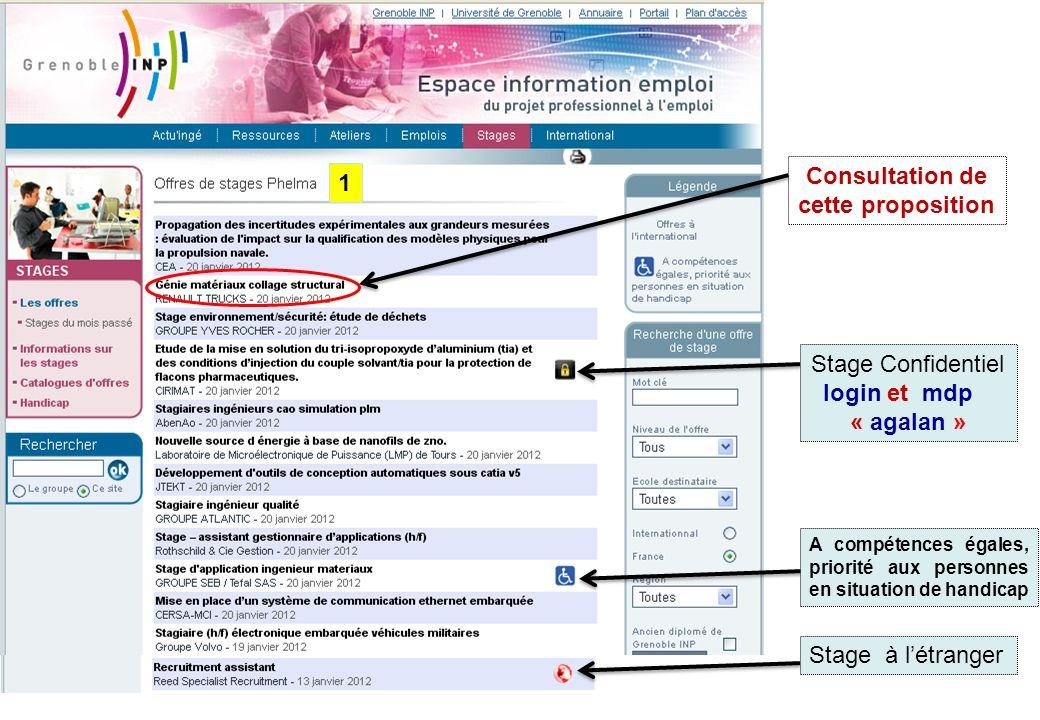 Stage Confidentiel login et mdp « agalan » Stage à létranger A compétences égales, priorité aux personnes en situation de handicap Consultation de cet