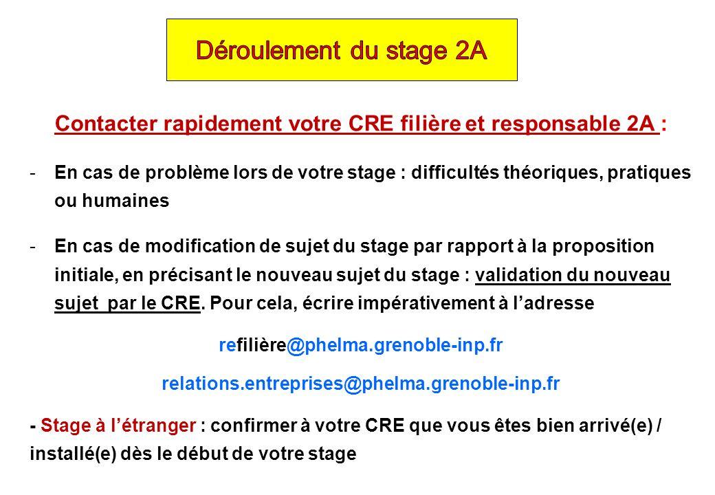 Contacter rapidement votre CRE filière et responsable 2A : -En cas de problème lors de votre stage : difficultés théoriques, pratiques ou humaines -En