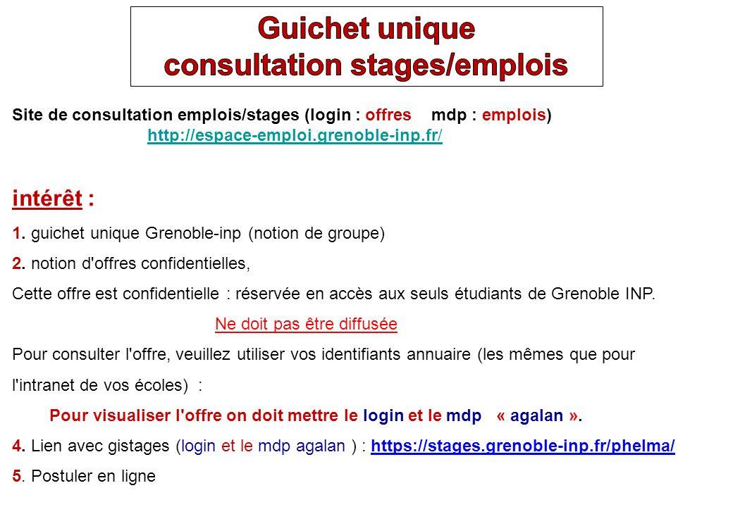 Site de consultation emplois/stages (login : offres mdp : emplois) http://espace-emploi.grenoble-inp.fr/ http://espace-emploi.grenoble-inp.fr/ intérêt