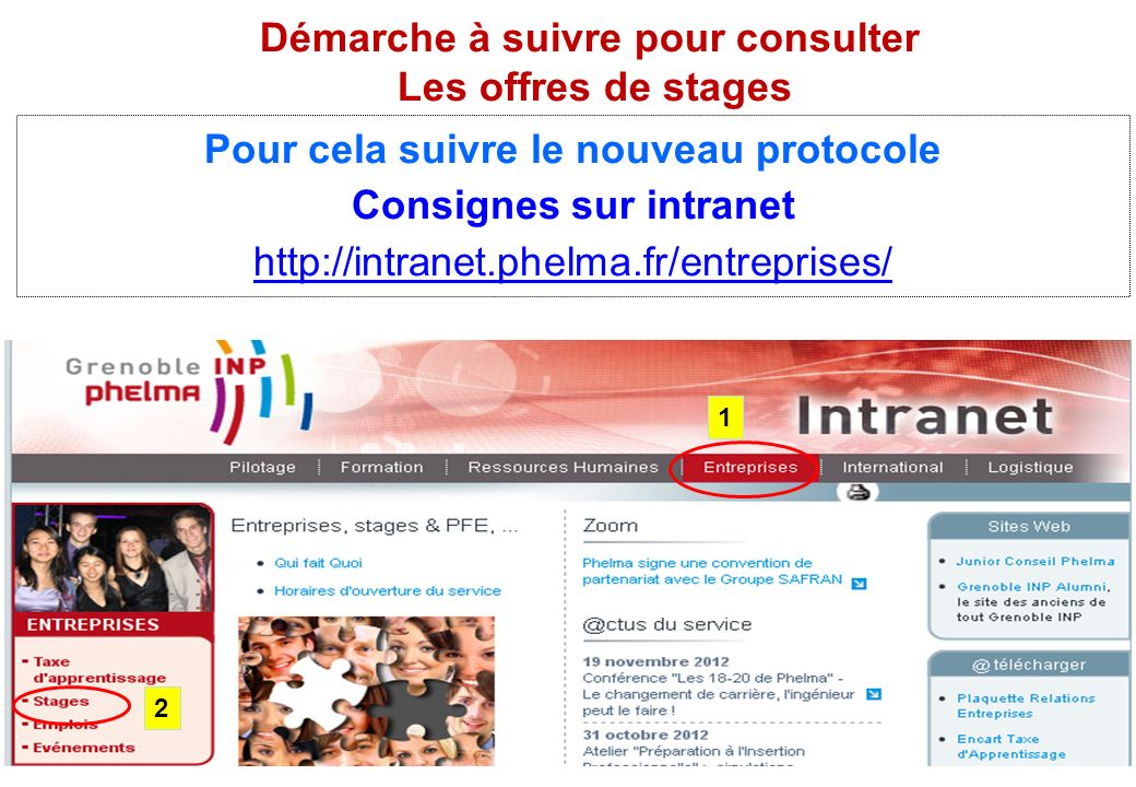 Pour cela suivre le nouveau protocole Consignes sur intranet http://intranet.phelma.fr/entreprises/ Démarche à suivre pour consulter Les offres de sta