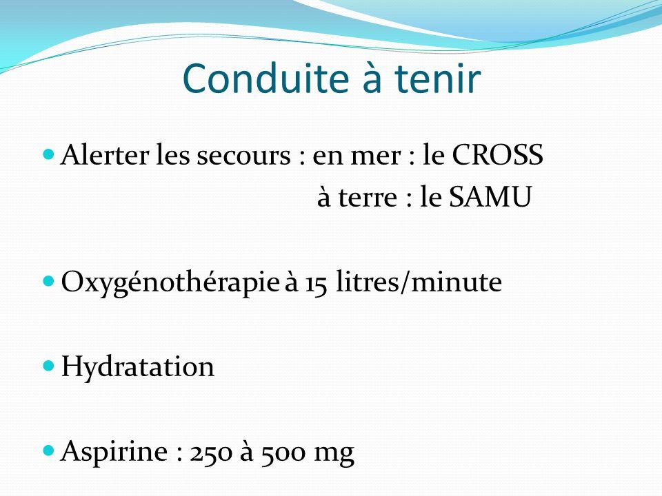 Conduite à tenir Alerter les secours : en mer : le CROSS à terre : le SAMU Oxygénothérapie à 15 litres/minute Hydratation Aspirine : 250 à 500 mg