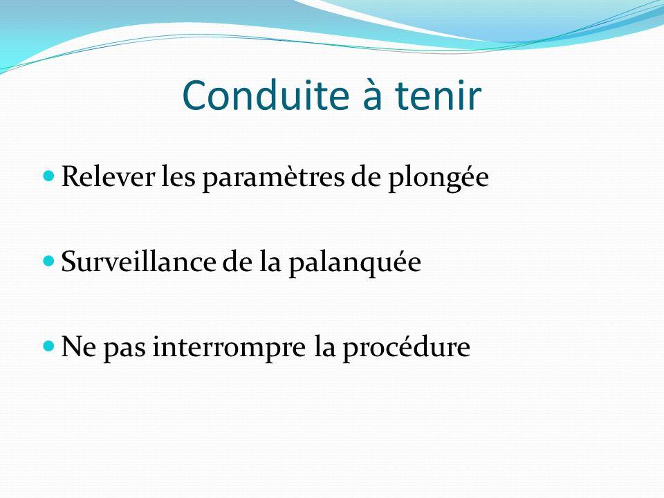 Conduite à tenir Relever les paramètres de plongée Surveillance de la palanquée Ne pas interrompre la procédure