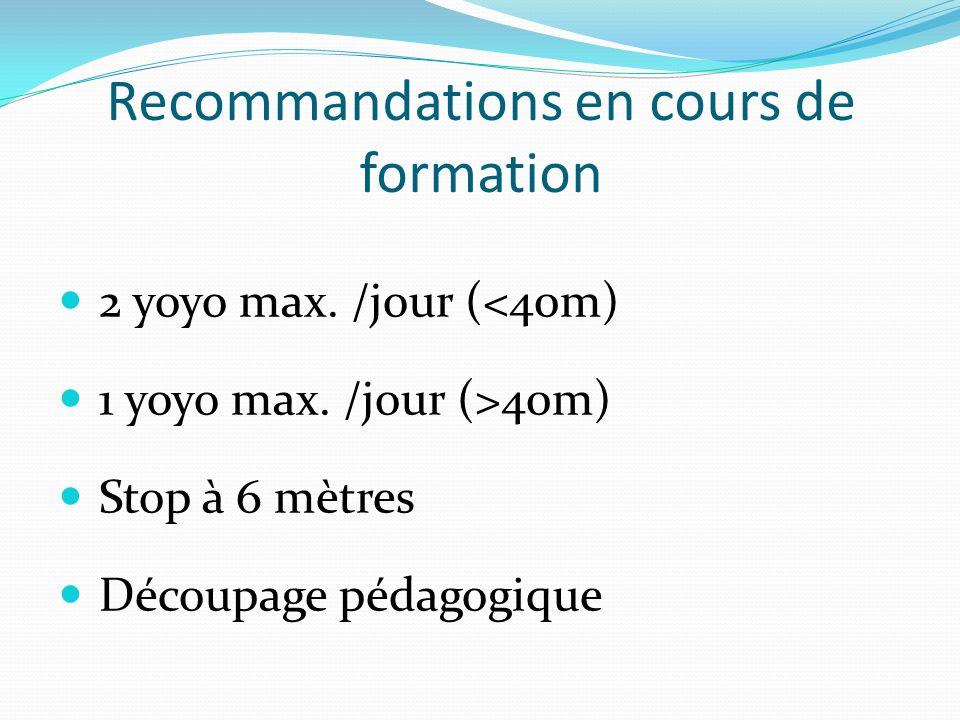 Recommandations en cours de formation 2 yoyo max. /jour (<40m) 1 yoyo max. /jour (>40m) Stop à 6 mètres Découpage pédagogique