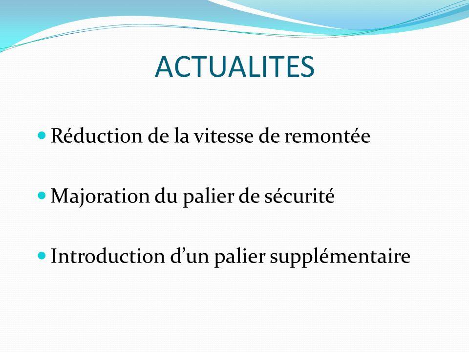 ACTUALITES Réduction de la vitesse de remontée Majoration du palier de sécurité Introduction dun palier supplémentaire