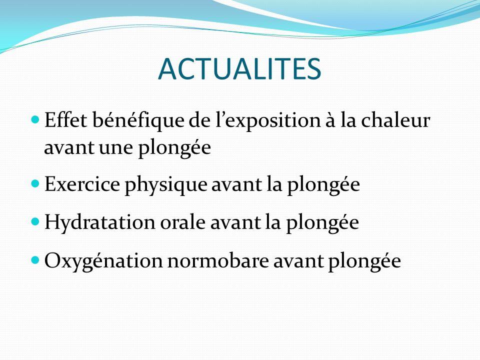 Effet bénéfique de lexposition à la chaleur avant une plongée Exercice physique avant la plongée Hydratation orale avant la plongée Oxygénation normob