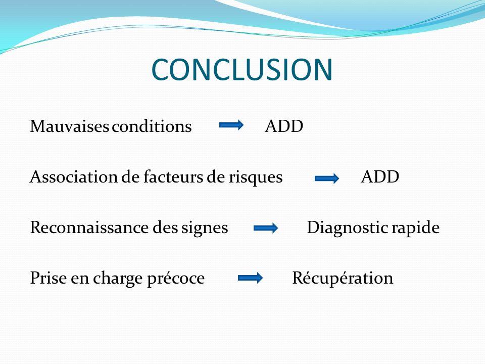 CONCLUSION Mauvaises conditions ADD Association de facteurs de risques ADD Reconnaissance des signes Diagnostic rapide Prise en charge précoce Récupér