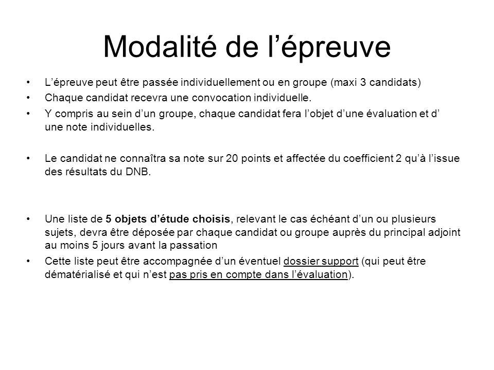 Modalité de lépreuve Lépreuve peut être passée individuellement ou en groupe (maxi 3 candidats) Chaque candidat recevra une convocation individuelle.