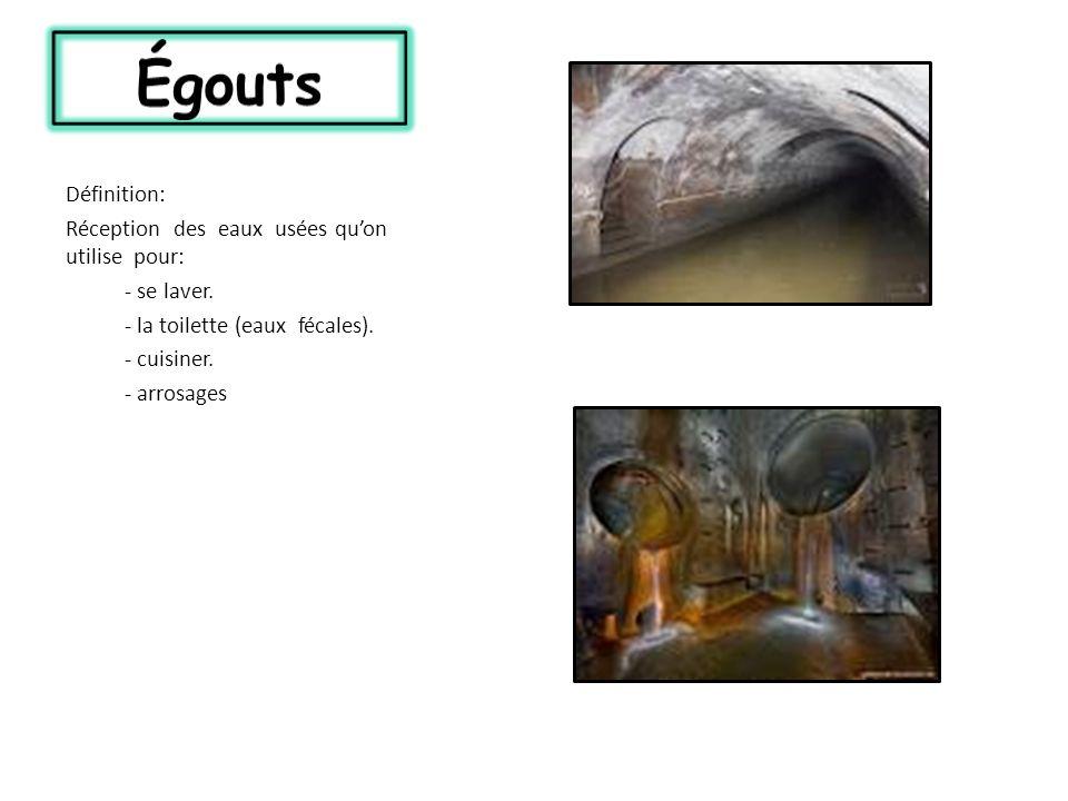 Définition: Réception des eaux usées quon utilise pour: - se laver. - la toilette (eaux fécales). - cuisiner. - arrosages