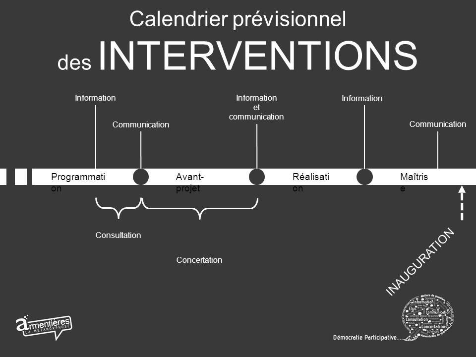 Programmati on Avant- projet Réalisati on Maîtris e Communication Information et communication Information Communication Consultation Concertation INAUGURATION Calendrier prévisionnel des INTERVENTIONS