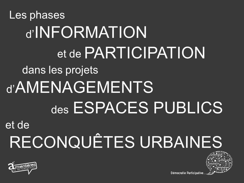 Les phases d INFORMATION et de PARTICIPATION dans les projets d AMENAGEMENTS et de RECONQUÊTES URBAINES des ESPACES PUBLICS