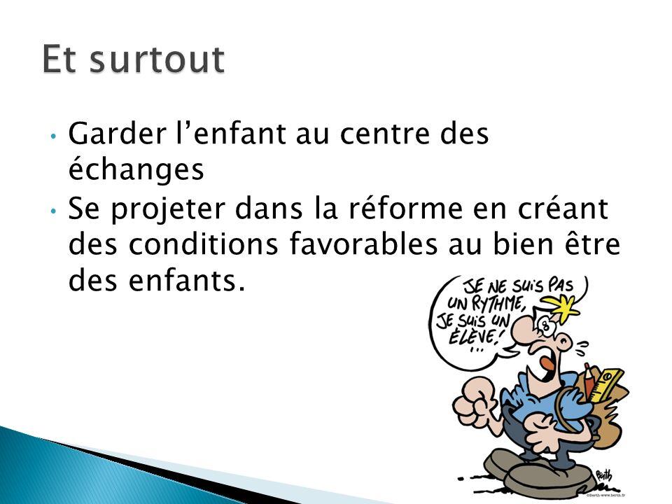 Garder lenfant au centre des échanges Se projeter dans la réforme en créant des conditions favorables au bien être des enfants.