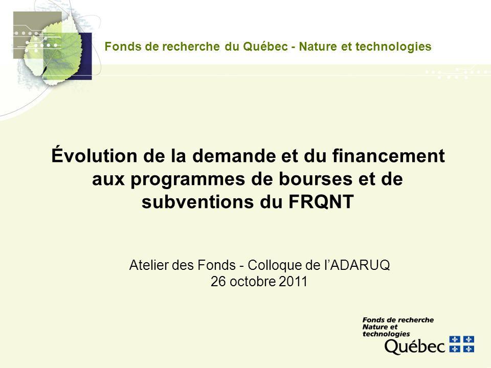 Fonds de recherche du Québec - Nature et technologies Atelier des Fonds - Colloque de lADARUQ 26 octobre 2011 Évolution de la demande et du financement aux programmes de bourses et de subventions du FRQNT