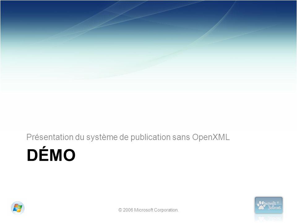© 2006 Microsoft Corporation. DÉMO Présentation du système de publication sans OpenXML