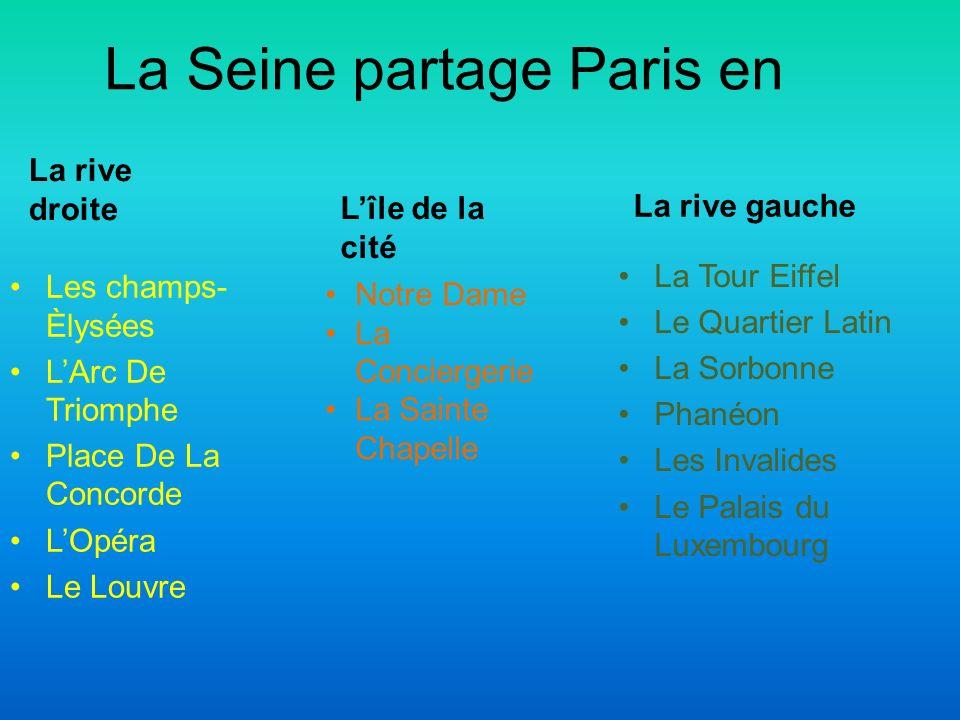 La Seine partage Paris en La rive droite Les champs- Èlysées LArc De Triomphe Place De La Concorde LOpéra Le Louvre La rive gauche La Tour Eiffel Le Q