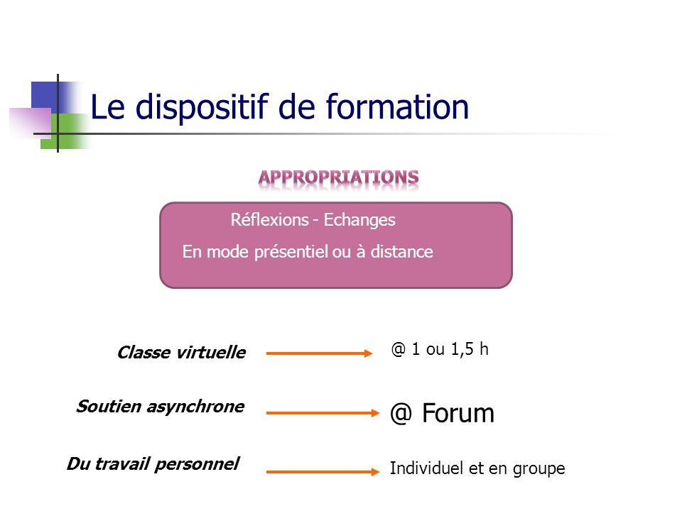 Le dispositif de formation Classe virtuelle Du travail personnel Individuel et en groupe @ 1 ou 1,5 h Réflexions - Echanges En mode présentiel ou à distance Soutien asynchrone @ Forum