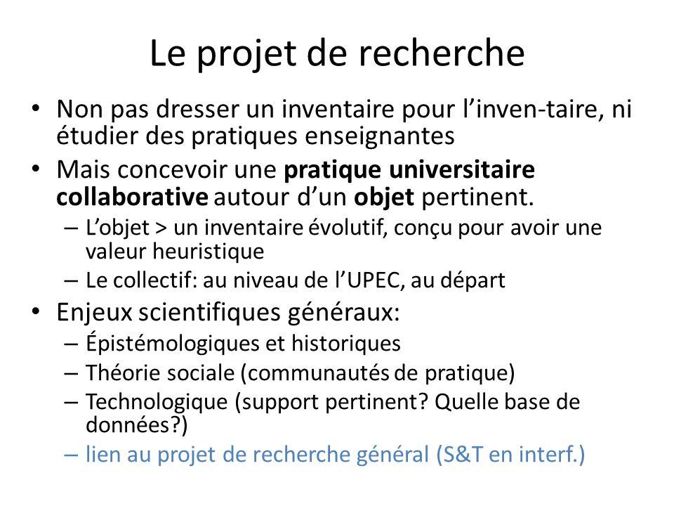 Le projet de recherche Non pas dresser un inventaire pour linven-taire, ni étudier des pratiques enseignantes Mais concevoir une pratique universitaire collaborative autour dun objet pertinent.