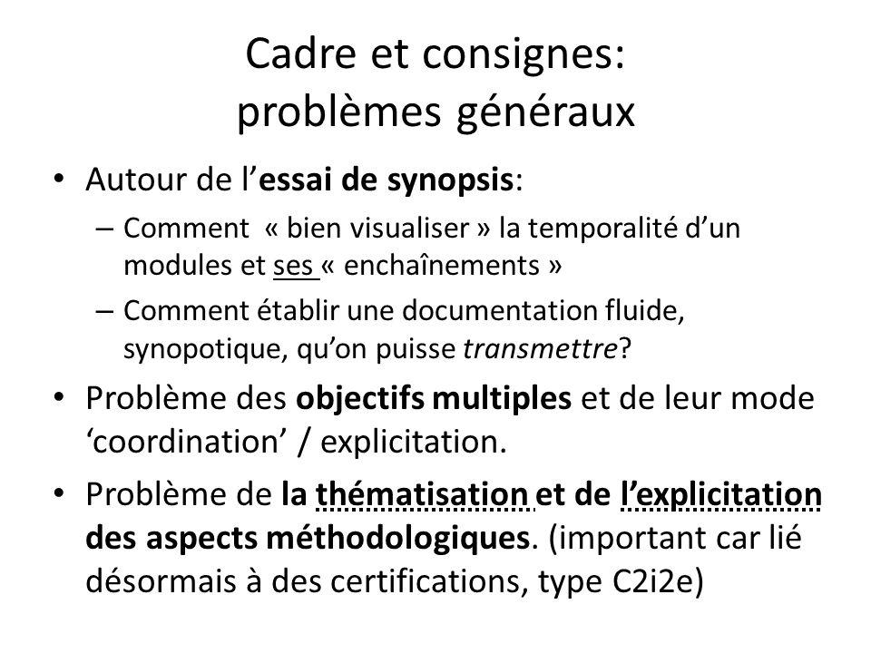 Cadre et consignes: problèmes généraux Autour de lessai de synopsis: – Comment « bien visualiser » la temporalité dun modules et ses « enchaînements » – Comment établir une documentation fluide, synopotique, quon puisse transmettre.