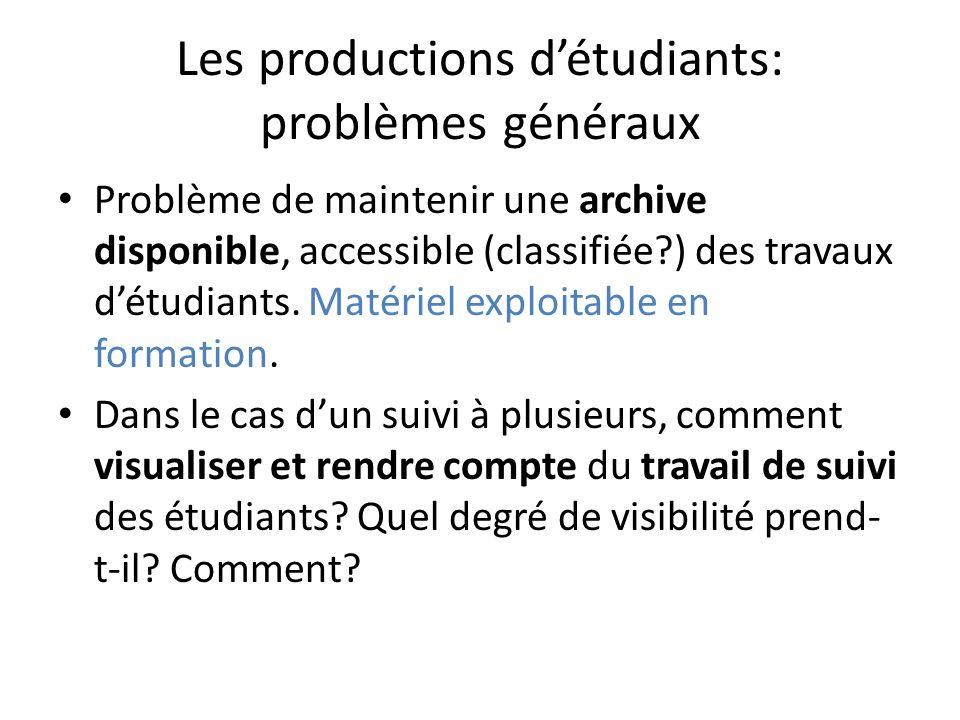 Les productions détudiants: problèmes généraux Problème de maintenir une archive disponible, accessible (classifiée?) des travaux détudiants.
