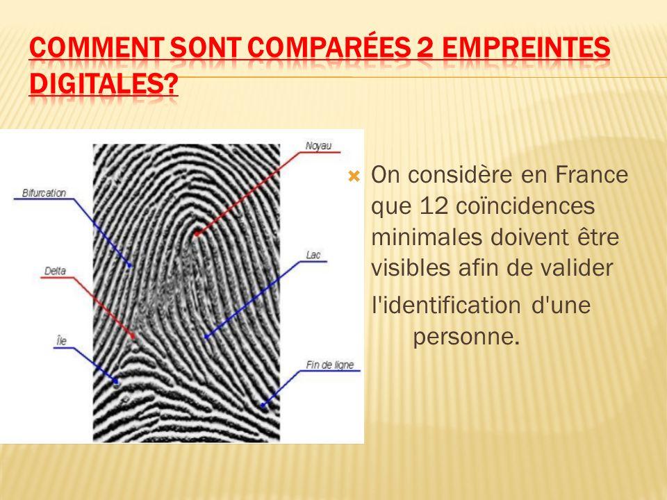 On considère en France que 12 coïncidences minimales doivent être visibles afin de valider l'identification d'une personne.