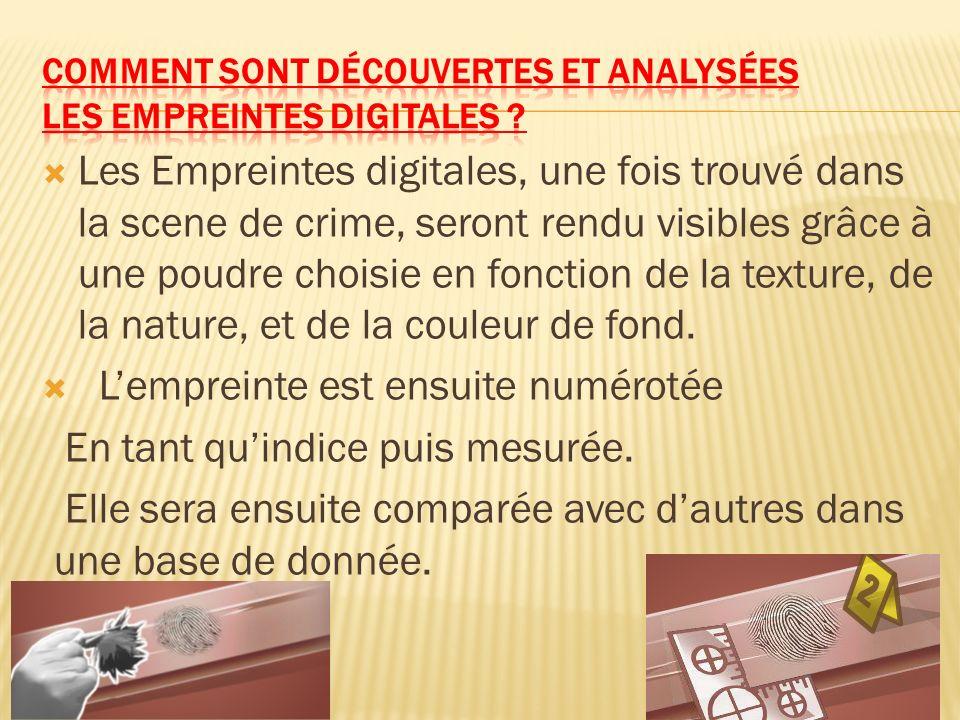 Les Empreintes digitales, une fois trouvé dans la scene de crime, seront rendu visibles grâce à une poudre choisie en fonction de la texture, de la na