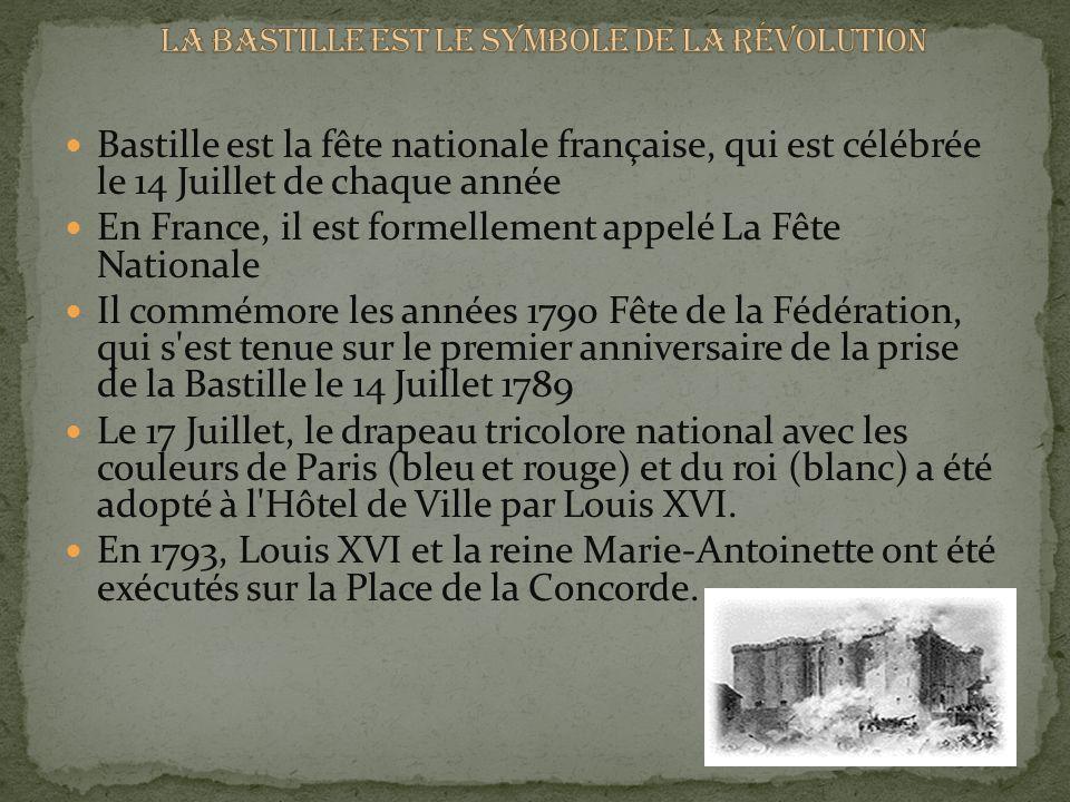 Bastille est la fête nationale française, qui est célébrée le 14 Juillet de chaque année En France, il est formellement appelé La Fête Nationale Il commémore les années 1790 Fête de la Fédération, qui s est tenue sur le premier anniversaire de la prise de la Bastille le 14 Juillet 1789 Le 17 Juillet, le drapeau tricolore national avec les couleurs de Paris (bleu et rouge) et du roi (blanc) a été adopté à l Hôtel de Ville par Louis XVI.
