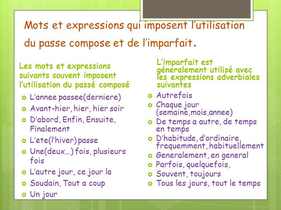 Mots et expressions qui imposent lutilisation du passe compose et de limparfait.