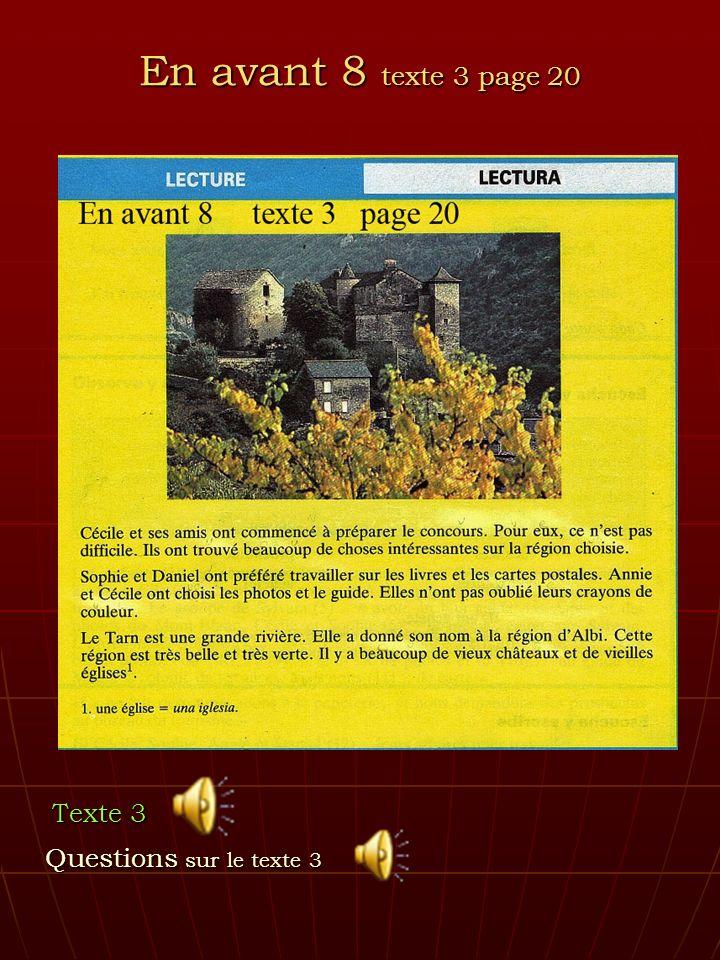 En avant 8 texte 3 page 20 Texte 3 Questions sur le texte 3